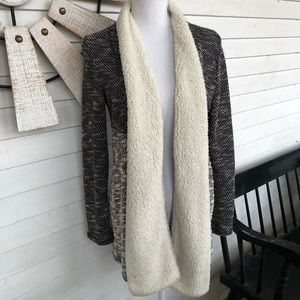 Two Toned Marl Knitted Cardigan Sherpa Sweater